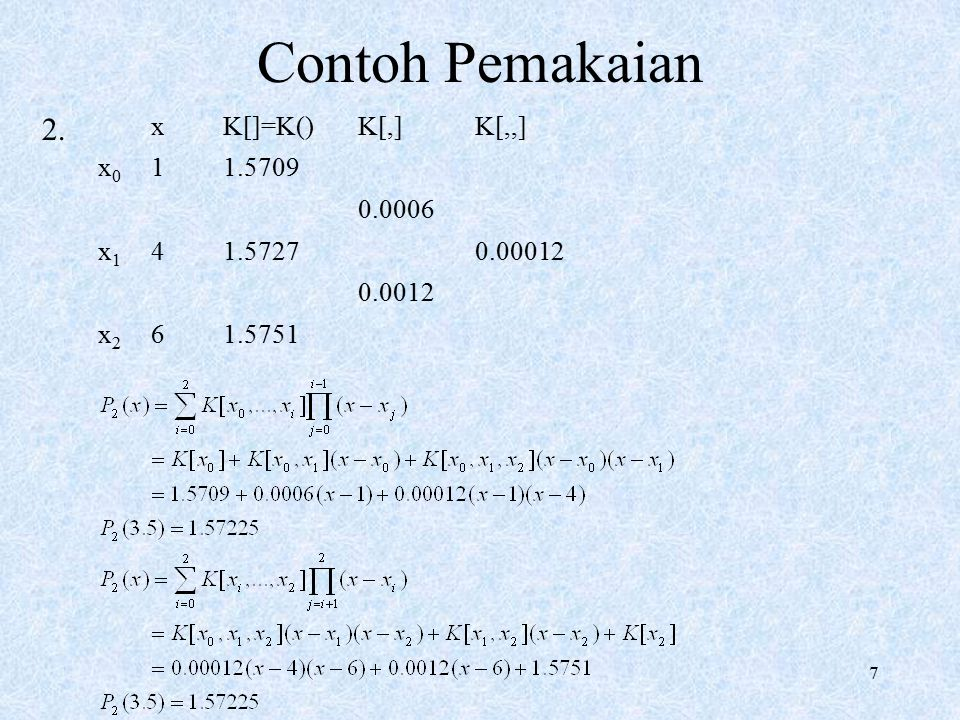 Contoh Pemakaian x K[]=K() K[,] K[,,] x0 1 1.5709 0.0006 x1 4 1.5727